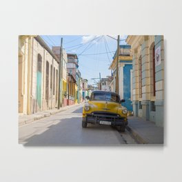 Classic yellow car in the colorful streets of Havana | Travel photography Cuba Metal Print