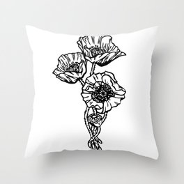 Black and White Poppy Trio Throw Pillow