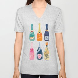 Champagne Bottles - Pink Ver. Unisex V-Neck