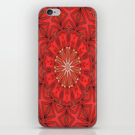 Red Bold Kaleidoscope Pattern iPhone Skin