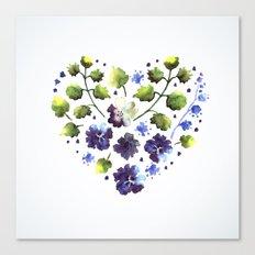 Watercolor decorative blue flowers heart Canvas Print