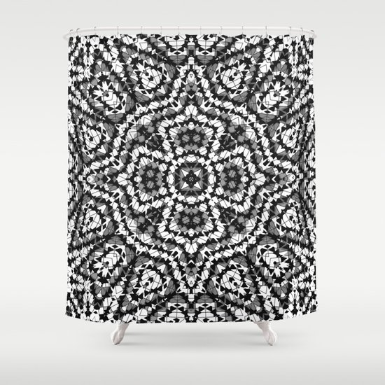 Black And White Geometric Pattern The Maltese Cross Shower Curtain By Artdeco Society6