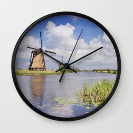 Traditional Dutch windmills on a sunny day at the Kinderdijk Wall Clock