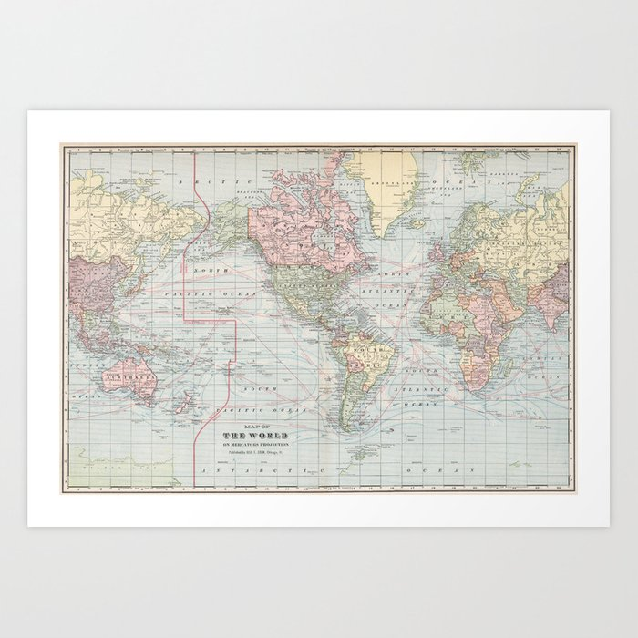Vintage world map 1901 art print by bravuramedia society6 vintage world map 1901 art print gumiabroncs Image collections