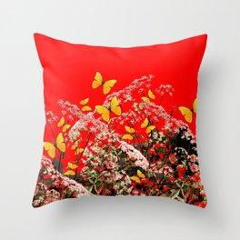 RED GARDEN ART OF YELLOW BUTTERFLIES & LACEY FLOWERS Throw Pillow