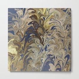 Gold and indigo marbled pattern Metal Print
