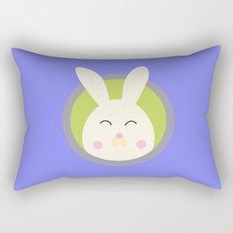 Cute rabbit head with blue circle Rectangular Pillow