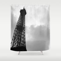 eiffel tower Shower Curtains featuring Eiffel Tower by David Hohmann