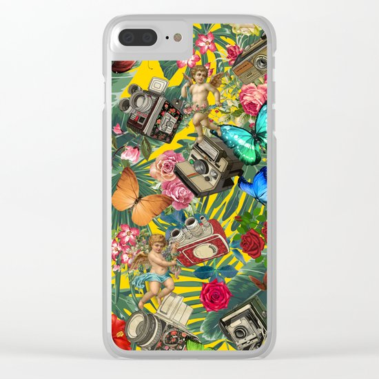 tropical in yellow Clear iPhone Case