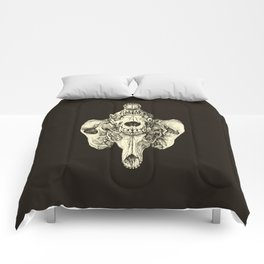 Coyote Skulls - Black and White Comforters
