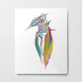 Kingfisher-1. Full color on white background-(Red eyes series) Metal Print