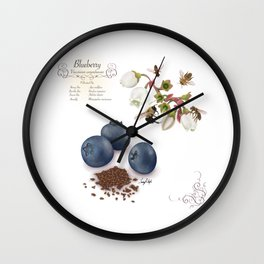 Blueberry and Pollinators Wall Clock