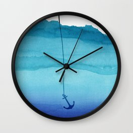 Cute Sinking Anchor in Sea Blue Watercolor Wall Clock