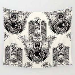 Hamsa Hand Persian Cat Wall Tapestry