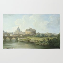 Pierre Antoine Demachy - View Of The Castel Santangelo In Rome. Rug