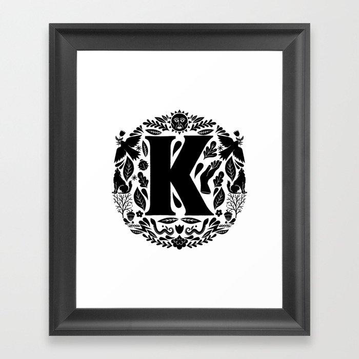 Letter K Monogram Wildwood Framed Art Print By Thewellkeptthing Society6
