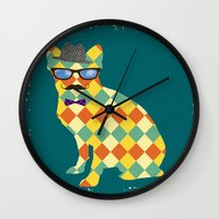 terrier Wall Clocks featuring Argyle Terrier  by David Andrew Sussman