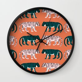 Orange, Blush & Green Tigers Wall Clock