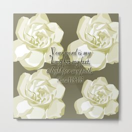 Scripture Gray,White Rose Metal Print