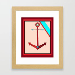 An Ship Anchor in Maroon, Red and Teal, Nautical Framed Art Print