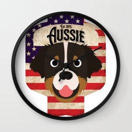 Australian Shepherd Dog - Distressed Union Jack Aussie Beer Label Design Wall Clock