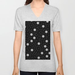 Dark night and winter snowflakes kawaii illustration print Unisex V-Neck