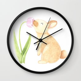 Bunny smelling a Tulip Wall Clock