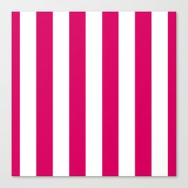Bright Pink Peacock and White Wide Vertical Cabana Tent Stripe Canvas Print