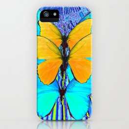 CONTEMPORARY BLUE & YELLOW BUTTERFLIES GRAPHIC ART iPhone Case