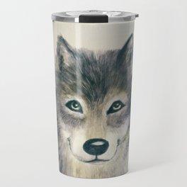 Wolf Watercolor Travel Mug