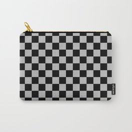 Black and Gray Checkerboard Carry-All Pouch