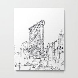 NYC Flatiron Building Sketch Metal Print