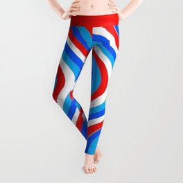 Wavy Lines - Red and Blue Leggings