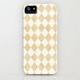 Chic Gold & Ivory Harlequin Pattern iPhone Case