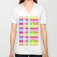 bathroom V-neck T-shirts featuring Bathroom Tile Rainbow by Jessica Slater Design & Illustration