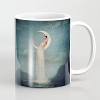 micklyn Mugs featuring Moon River Lady by Paula Belle Flores