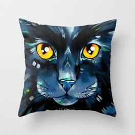 Cat's in Color 2 - Black version Throw Pillow
