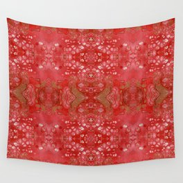 Red and gold fluid art Wall Tapestry