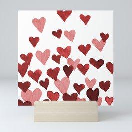 Valentine's Day Watercolor Hearts - red Mini Art Print