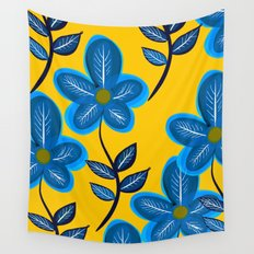 Blue Flowers and Yellow Pattern Wall Tapestry