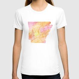 Typographic Arkansas - Orange Watercolor map T-shirt