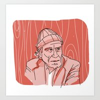 bukowski Art Prints featuring Bukowski by baskervillain