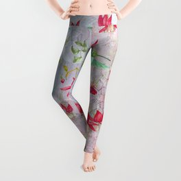 Vintage Watercolor hummingbird and Fuchsia Flowers on pink Background Leggings