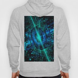 abstract green blue star fractal with bokeh Hoody