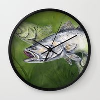 trout Wall Clocks featuring Speckled Trout by Annette Taunton