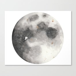 Super Moon Watercolor Canvas Print
