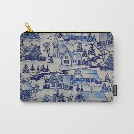 Vintage Blue Christmas Holiday Village Carry-All Pouch