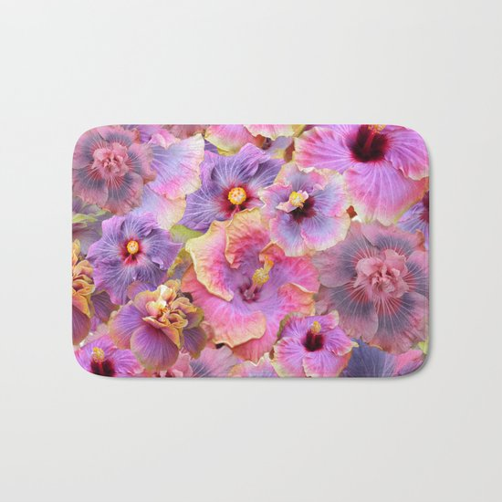 Tropical hibiscus patterns Flower Floral Flowers Bath Mat