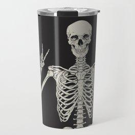 1 Mystic of 94 Magical Mystical Gothic Human Skeleton Giving The Peace Sign Bones Black & White Travel Mug