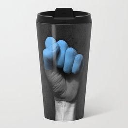 Estonian Flag on a Raised Clenched Fist Travel Mug